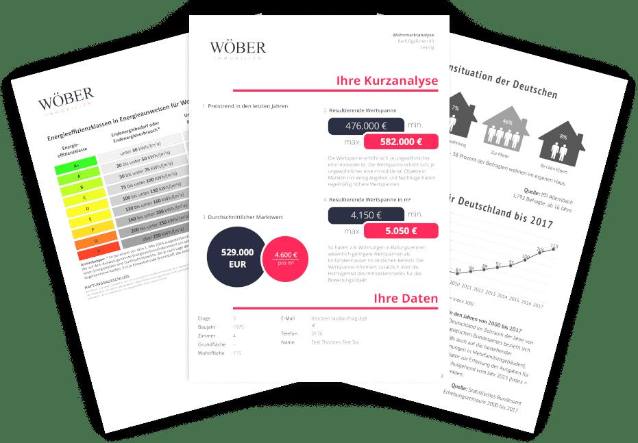 3 Blätter einer digitalen Online-Immobilienbewertung