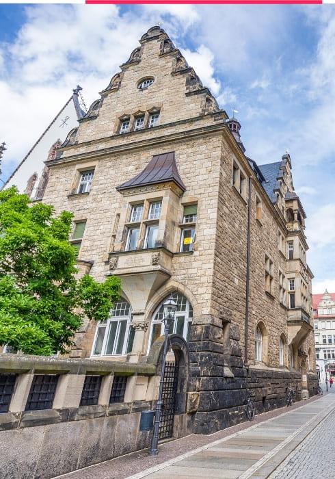 Historischer Altbau in der Altstadt von Leipzig.